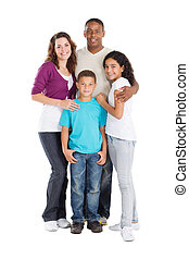 multiracial, famille, heureux