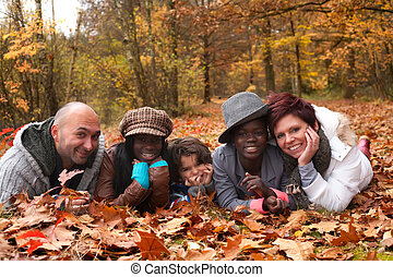 Multiracial family - Happy family with foster children in...
