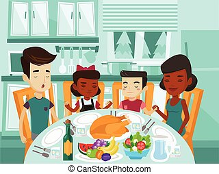 Multiracial family praying at festive table.