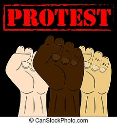 Multiracial fists hands up. Raised hands with clenched fist. Concept of protest, revolution, fight, cooperation, strike. Vector.