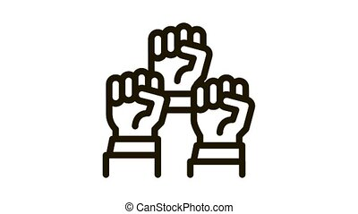 multiracial fists Icon Animation. black multiracial fists animated icon on white background