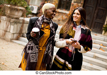Multiracial friends outdoors