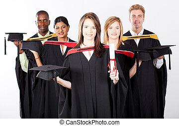 multiracial groep, afgestudeerd, afgestudeerdeen