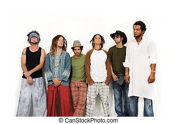 multiracial groep, van, mannen