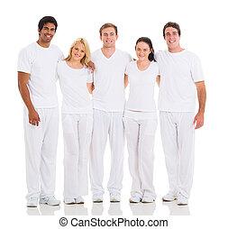 multiracial groep, vrienden, vrolijke