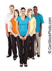 multiracial groep, vrijstaand, mensen