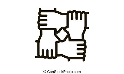 multiracial group hands holding Icon Animation