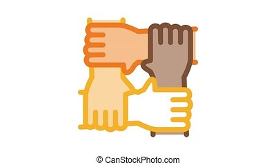 multiracial group hands holding Icon Animation. color multiracial group hands holding animated icon on white background