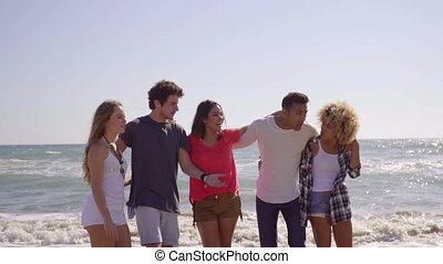 Multiracial group of young friends on the beach walking arm...