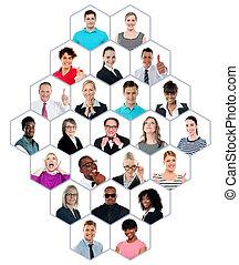 multiracial grupa, headshot, zbiór, ludzie