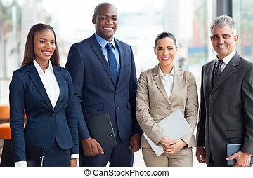 multiracial, handlowy zaprzęg, w, biuro