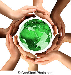 Conceptual symbol of a green Earth globe with multiracial human hands around it. Isolated on white background. Unity and world peace concept.