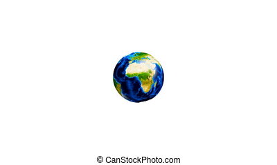 Video of a conceptual symbol of multiracial human hands surrounding the Earth globe Isolated on white background.