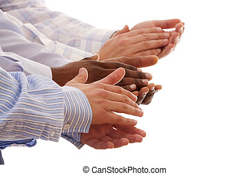 multiracial hands clapping together isolated on white...