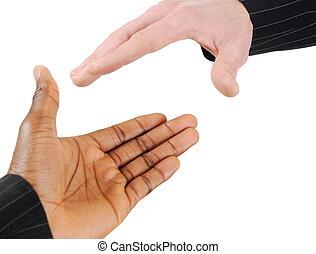 Multiracial handshake between two business men
