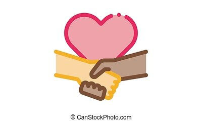 multiracial handshake heart Icon Animation. color multiracial handshake heart animated icon on white background