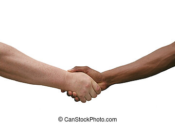Multiracial Handshake Isolated on White