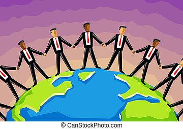 multiracial, homem negócios, prender, mão