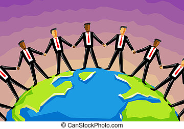 multiracial, homme affaires, lier, main