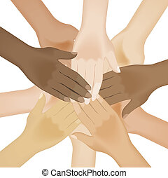 Circle of multiracial human hands. Illustration on white background