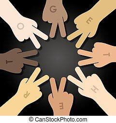 multiracial human hands making a star shape