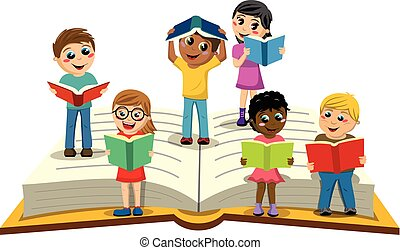 Multiracial Kids or children reading big open book isolated...