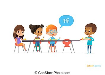 Multiracial kids sitting at table in school canteen and greeting newcomer boy holding tray with food. Children s relationships concept. Vector illustration for banner, website, poster, advertisement.