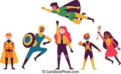Multiracial kids wearing costumes of different superheroes....