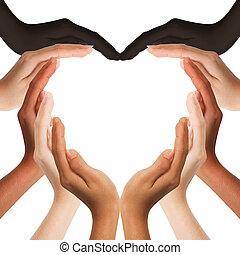 multiracial, ludzkie ręki, zrobienie, niejaki, sercowa forma, na białym, tło, z, niejaki, kopiować przestrzeń, pośrodku