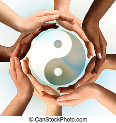 multiracial, mains, entourer, yin yang symbole