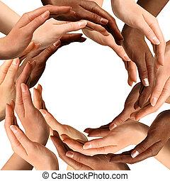 multiracial, manos, hacer un círculo