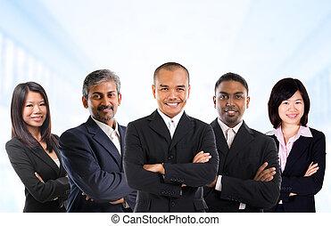multiracial, negocio asiático, equipo