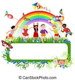 multiracial, niños, juego