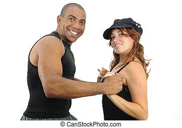 multiracial párosít, tánc, elszigetelt