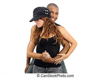 multiracial para, upozowywać taniec