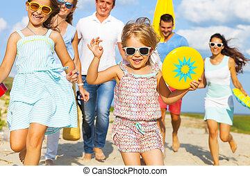 multiracial, plaża, pieszy, przyjaciele, grupa