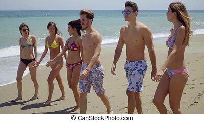 multiracial, plage, amis, groupe, jeune