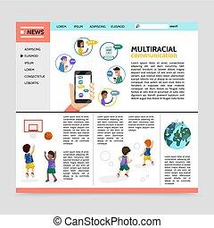 multiracial, plat, concept, webpage, communicatie