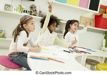multiracial, playroom, dibujo, niños