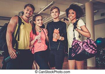 multiracial, po, grupa, klasa, aerobics