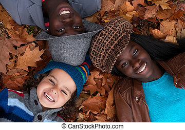 Multiracial portrait of 3 kids - Happy family with foster...