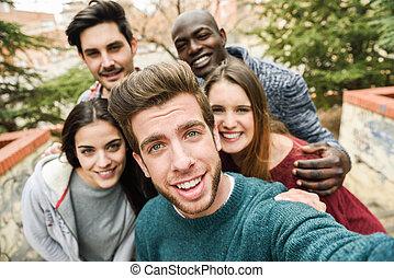 multiracial, przyjaciele, wpływy, grupa, selfie
