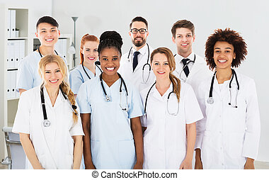 multiracial, sorrindo, equipe médica