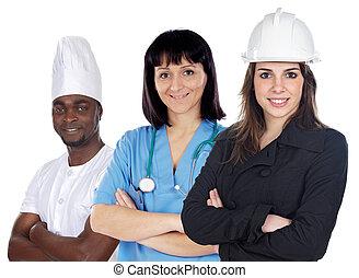 multiracial, werkmannen , groep, witte achtergrond