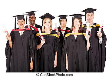 multiracial, witte , groep, afgestudeerdeen