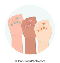 Multiracial woman hands with her fist raised up. Girl power