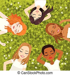 Multiracial Women Resting - Five beautiful young multiracial...
