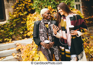 Multiracial young women outdoor
