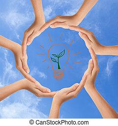 multirazziale, mani umane, facendo cerchio, con, spazio copia