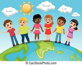 multirazziale, terra, bambini, bambini, mano